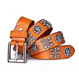 Punk Rock Studded Belts for Women and Men Stylish Casual Skull Handcrafted Cowhide Leather Belts with Unique Stylish Buckle,Orange,105CM
