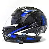 Bluetooth Casco de Moto Modular,ECE Homologado Adultos Casco Flip Up Modular Casco Moto Integral,para Ciclomotor Motocicleta y Scooter Mujer y Hombre con Doble Visera G,L=59~60cm