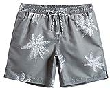 MaaMgic Mens Quick Dry Palm Tree Swim Trunks With Mesh Lining Swimwear Bathing Suits, Grey, Large(Waist-31'-33')