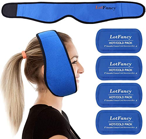 LotFancy 4 Bolsas de Gel Reutilizable Frío Calor con Banda de Compresión, Hielo en Gel Compresas Multiusos Terapia para Mandíbula, Cara, Cabeza, Barbilla, Cirugía Facial Oral