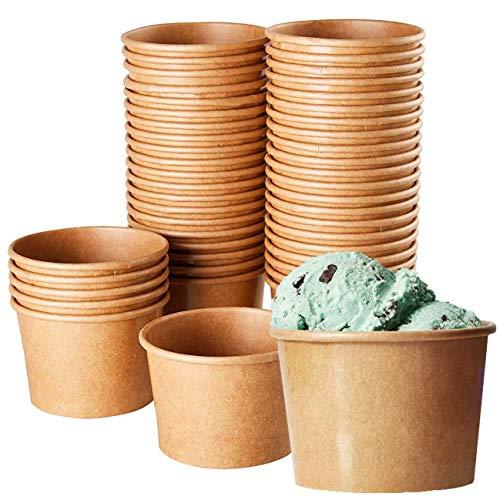 Kraft Paper Ice Cream Cups - 100 Count Wegwerp 8-Ounce Dessert Bowls voor warm of koud voedsel, Feestartikelen Behandel Bekers voor Sundae, Bevroren Yoghurt, Soep, Bruin