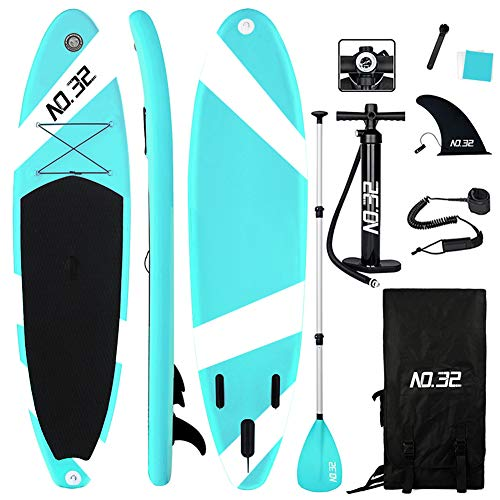 NO.32 Tabla Hinchable de Paddle Surf + Sup Paddle Remo de Ajustable | Bomba | Mochila | Aleta Central Desprendible | Kit de Reparación y Surf Leash(300 * 76 * 15cm Grosor, Carga hasta: 350kg)