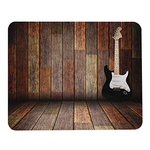 Wozukia Popstar Party Mouse Pad Electric Guitar in The Wooden Room Country House Interior Music Theme Mouse Pad Computer Accessories Home Office Space Decor Gaming Mouse Pad Design 9.5 X 7.9 Inch
