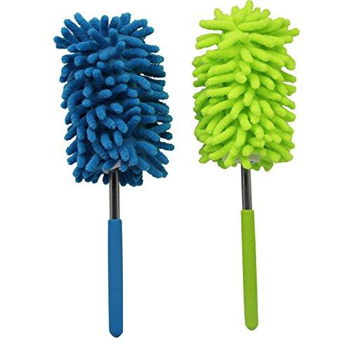 cgtime extensible manos de microfibra cepillo para polvo Dusters lavable con poste telescópico para limpieza de coche, computadora, aire acondicionado, TV y otra paquete de 2