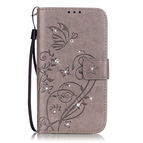 ISAKEN Motorola Moto G3 Hülle, Glitzer Strass Kristall PU Leder Geldbörse Wallet Hülle Handyhülle Tasche Schutzhülle mit Handschlaufe Strap für Moto G 3. Generation - Schmetterling Blume Grau