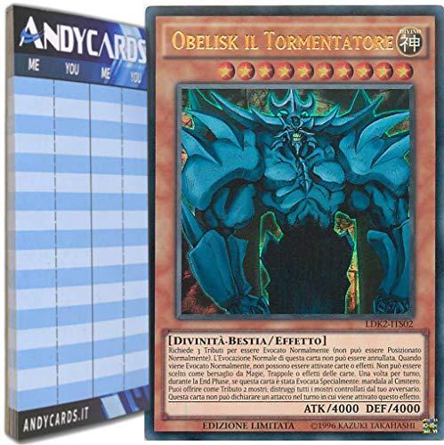 Andycards Yu-Gi-Oh! - Obelisk Il TORMENTATORE - Ultra Rara LDK2-ITS02 in Italiano + Segnapunti