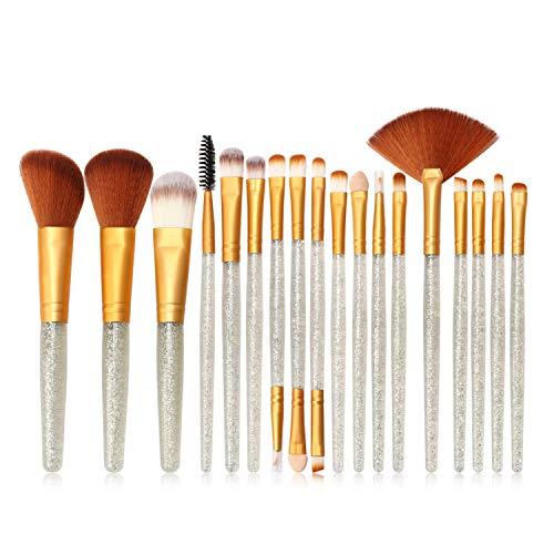 Vtrem 18Pcs Set/Kit Pinceaux Maquillages Yeux Teint Visage Maquillage Professionnel Brosse De Cosmétique Beauté Couleur De Luxe (Argent + Or)