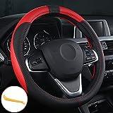 OFZVEO Coprivolante per Auto Protezione Custodia Volante Cover in Pelle Artificiale Universale 37-38cm / 15' Antiscivolo Traspirante Durevole (Rosso)