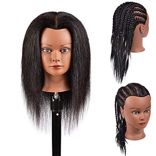Mannequin Head Hair 100% Real Hair Mannequin Head Hairdresser Trainging Head Manikin Cosmetology Doll Head Hairdressers Practice Trainging Head for Hairstyling and Braid Training Hair Head