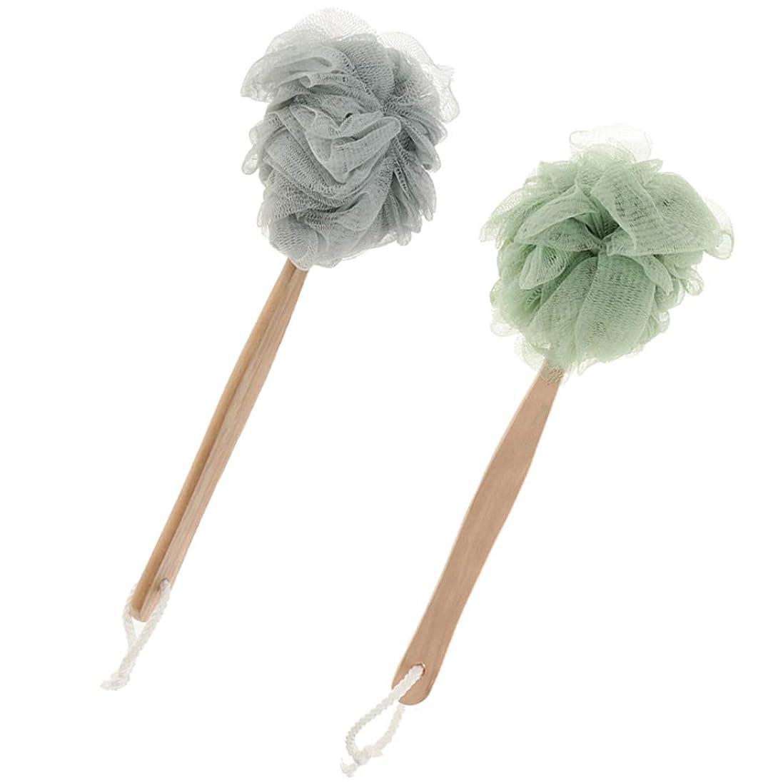 Fenteer シャワーパフ ボディブラシ メッシュブラシ 体洗いブラシ 長柄 毛穴洗浄 角質除去 バスグッズ 2個
