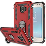 Galaxy J2 Pro 2018/Grand Prime Pro Case with HD Screen Protector (2Pack) KaiMai 360 Degree Rotating Ring & Bracket Dual Layers of Shockproof TPU and Solid PC Phone Case for Galaxy J2 2018-Red