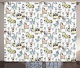 Ambesonne Animal Curtains, Cow Horse Pigs Chicken Sheep Farmhouse Mascots Kids Nursery Baby Cartoon Print, Living Room Bedroom Window Drapes 2 Panel Set, 108' X 63', Blue Black