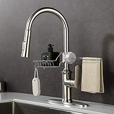 GUSITE Brushed Nickel Kitchen Sink Faucet with Pull Down Sprayer, SUS304 Stainless Steel High Arc Single Handle Pull Out Kitchen Faucet with Deck Plate and Sponge Towel Holder Basket Rack (Style B)