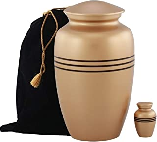 MEMORIALS 4U Classic Metal Cremation Urn - Handcrafted Urn for Human Ashes - Affordable Urn for Ashes with Keepsake and Ve...