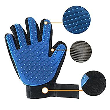 Mr. Peanut's HanD Glove Grooming Brush and Deshedding Aid - Pet Hair Remover Mitt - For Long and Short Hair Grooming of Dogs, Horses, Bunnies and Some Agreeable Cats - Pet Massage (Blue)