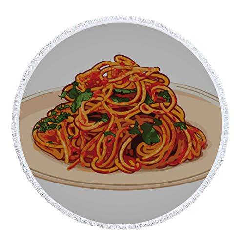 Olie Cam Runder Strandtuchdecke Spaghetti Spicy Print