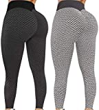 Famous Tiktok Leggings for Women - 2 Pack TIK Tok Butt Lift High Waist Yoga Pants