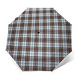 Paraguas Plegable Automático Impermeable Tartan Folk Cultura británica, Paraguas De Viaje Compacto a Prueba De Viento, Folding Umbrella, Dosel Reforzado, Mango Ergonómico