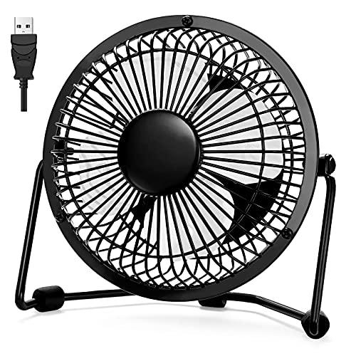 XIKUO Ventilador de escritorio 4 pulgadas Mini ventilador de enfriamiento ultra silencioso portátil 360 ° de rotación para la mesa de la oficina en el hogar con alimentación por USB SOLAMENTE Diseño