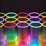 GLOWING PARTY CUPS 16oz Multicolor Glow Party Neon Glowing Light Up Cups Glow Party Supplies Glow In The Dark Party Decorations Favors Glow Sticks Party Sticks Kids Party
