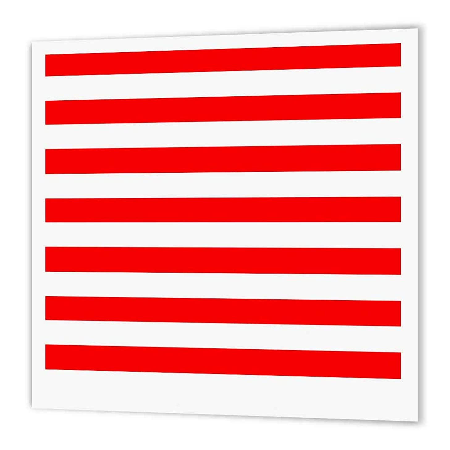 3dRose ht_24692_1 Red and White Stripes-Iron on Heat Transfer Paper for White Material, 8 by 8-Inch