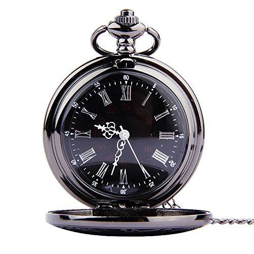 Mens Watches, Men's Simple Retro Romantic Double Display Quartz Pocket Watch (Black)