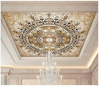 3D Wallpaper Mural Ceiling Silk Cloth Golden European Pattern European Style Palace Ceiling Ceiling Wall 200X140Cm Ayzr