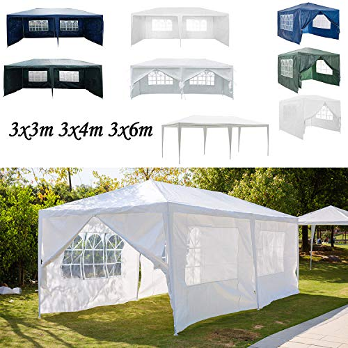 AutoBaBa 3x6m Gazebo Outdoor Party Commercial Tent Marquee Canopy Awning for Party Wedding Camping With Zip Up Side Panel, Waterproof (White, 6 Side Panels)
