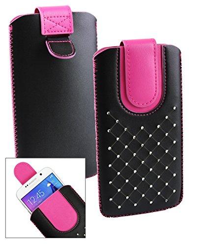 Emartbuy® Schwarz / Hot Rosa Edelsteinbesetzt Premium PU Leder Slide in Hülle Tasche Sleeve Abdeckungs Halter ( Größe LM4 ) Mit Pull Tab Mechanism Passend für TP-LINK Neffos C5 Max Smartphone