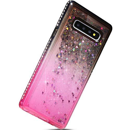 Herbests Kompatibel mit Samsung Galaxy S10 Plus Handyhülle Glitzer Flüssig Treibsand Bling Diamant Dynamisch Gradient Quicksand TPU Silikon Schutzhülle Durchsichtig Hülle Backcover,Schwarz + Rosa