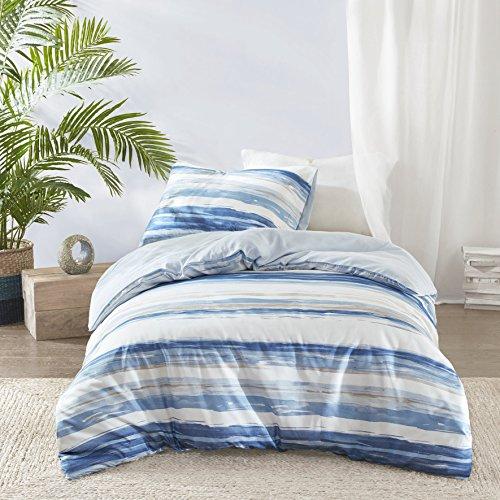 Marina Parure de lit moderne avec housse de couette et taie d'oreiller Motif rayures effet bord de mer, motif aquarelle, plusieurs nuances de bleu, Polyester, Rayures bleues côtières., Taille simple