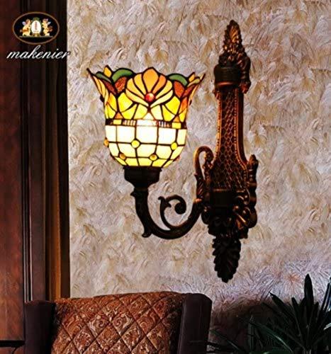 Tiffany Europaische retro-stijl glas in lood wand lampen 1 gloeilampen