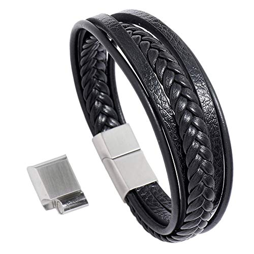 SODIAL Hebilla Magnética de Acero Inoxidable Pulsera de los Hombres Pulsera de Cuero Trenzado Simple Multicapa Negro y Plata 23Cm