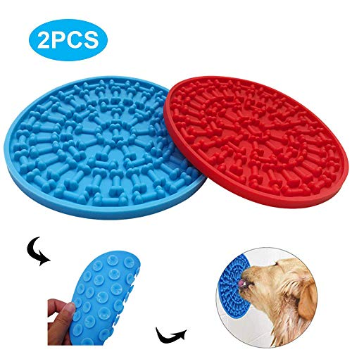PeSandy Dog Lick Pad, Silicone 2PCS Dog Slow Feeder Lick Mat with 37 Super Suction for Dogs Bathing Grooming, Durable Dog Washing Distraction Device Makes Shower Easy and Funny Just Spreading Peanut