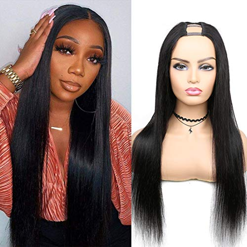U Part Wig Human Hair, Straight Upart Human Hair Wig Affordable Brazilian Hair Straight Human Hair Wigs for Black Women U Shape Natural Color Wigs (16 inch)