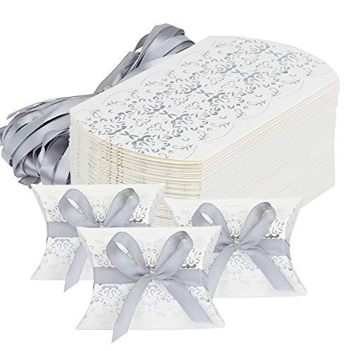 HSEAMALL - Scatole per bomboniere, per feste, a forma di cuscino, per contenere caramelle e confetti, confezione da 50 Silver Print
