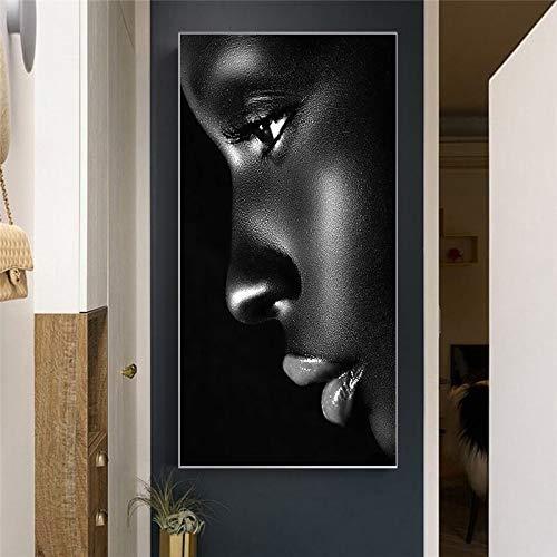 wZUN Abstracto Negro Mujer Cara Cartel Retrato Lienzo Pintura impresión Pared Arte Imagen decoración para Sala de Estar 60X90 Sin Marco