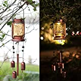 ZYLiWoo-Solar Wind Chime, Mason jar Wind Chime Light,Hanging Wind Chimes,Memorial Wind Chimes Outdoor Waterproof,Suitable for Garden,Terrace and Courtyard Corridor Decoration