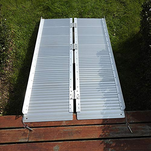 Goujxcy Threshold Ramps,4FT Portable Folding Aluminum Wheelchair Threshold Ramp with Ribbed Surface and Carrying Handle