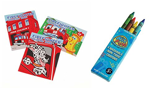 USToy 24 Piece Firefighter Fireman Coloring Book & Crayons Bundle