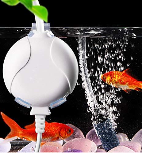ELETEK Sauerstoffpumpe für Aquarium Mini Leise Aquarium Luftpumpe für Fischbecken und Nanoaquarien mit Rückschlagventil, Haken und Saugnapf