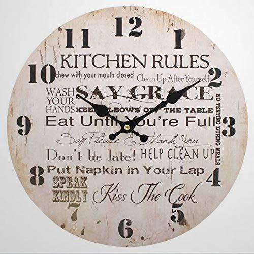 Reloj de cocina grande para cocina, reloj de pared de cocina, reloj de pared de cocina, reloj de pared de 30,5 cm, funciona con pilas, pared de granja D