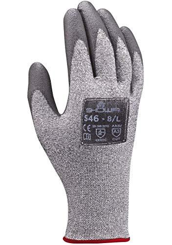 SHOWA 546 Schnittfeste Arbeitshandschuhe, PU-Beschichtung, verstärkt mit HPPE, 1,3 mm dick, Grau, XL
