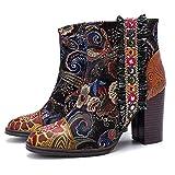 HMNS Botas de Tobillo para Mujer Botines de impresión Retro Señoras Chelsea Botas Laterales Zapatos de Fiesta con Cremallera Otoño Invierno,Negro,EU 38/ UK 5.5