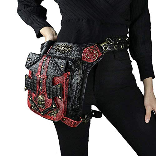 Black Sale Friday Deals Steampunk Waist Bag Fanny Pack Fashion Gothic Leather Shoulder Crossbody Messenger Bags Thigh Leg Hip Holster Purse Travel Hiking Sport Chain Bags for Women Men
