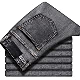 Los hombres Stretch regular fit Jeans Negocios Casual Estilo Clásico Moda Denim Pantalones Negro Azul Gris Pantalones, Regular 123-gris oscuro, 40
