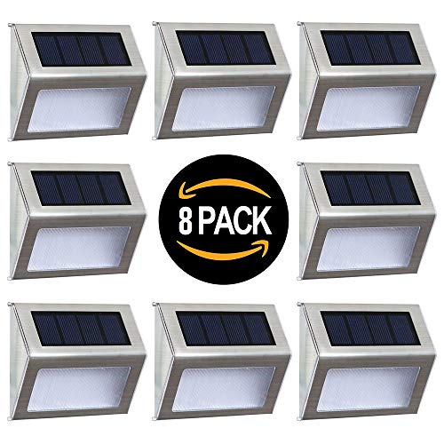 Solar Deck Lights Outdoor Solar Step Lights 6 LED Solar Stair Lights Stainless Steel Outdoor Solar Wall Lights Weatherproof Outdoor Auto On/Off Lighting for Steps Stairs Decks Fences 8 Pack