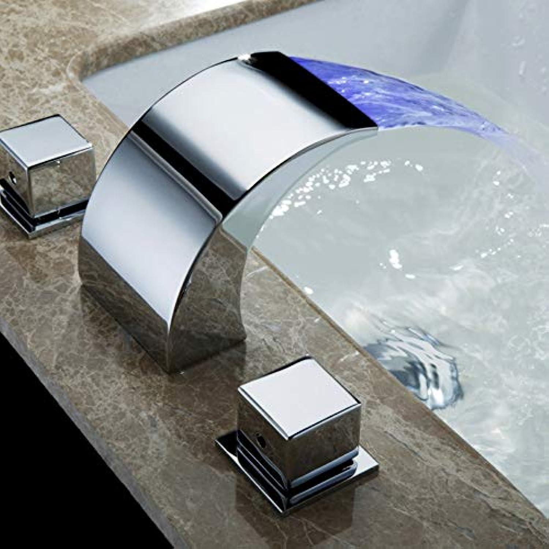 Waschtischarmatur Temperaturgesteuerter Wasserhahn Wasserhahn Badezimmer Wasserfall Wasserhahn Bad Wasserhahn Led Wasserhahn
