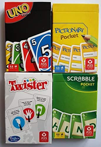 Rewe - 4 Verschiedene Kartenspiele UNO + Twister + Scrabble + PICTIONARY- Pocket Version - OVP Aktion