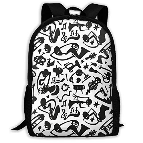 TRFashion Sac à Dos Jazz Musicians Abstract Heart Fashion Outdoor Shoulders Bag Durable Travel Camping for Kids Backpacks